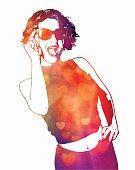Multiple exposure watercolor portrait of an energetic woman laughing