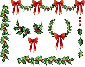 Lots of holly elements. Multiple Holly Design Elements Clipart with Red Bows Vector Illustrations. This set includes holly wreaths,holly garland with bows and individual holly elements such as holly leafs and berries. There are separate Holly elements and bows that can be manipulated for your creativity.