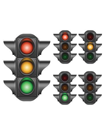 Multiple illustrations of traffic lights