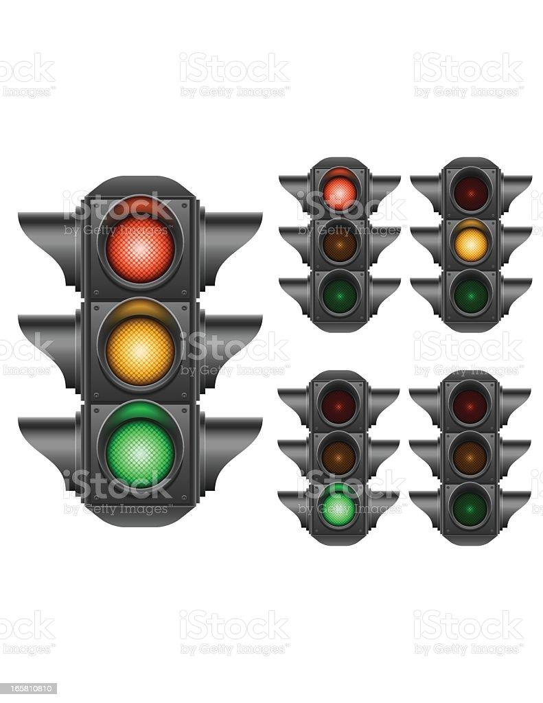Multiple illustrations of traffic lights vector art illustration
