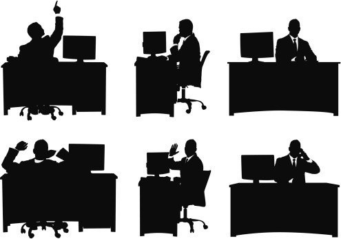 Multiple image of a businessman working in his office