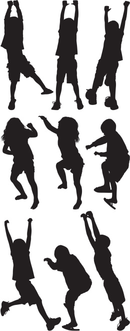Multiple image of children playing