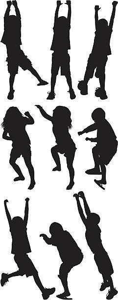 stockillustraties, clipart, cartoons en iconen met multiple image of children playing - schommelen bungelen