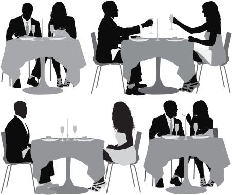 Multiple image of couple having dinner