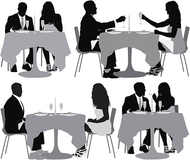 illustrazioni stock, clip art, cartoni animati e icone di tendenza di immagine multipla di coppia avendo una cena - dinner couple restaurant