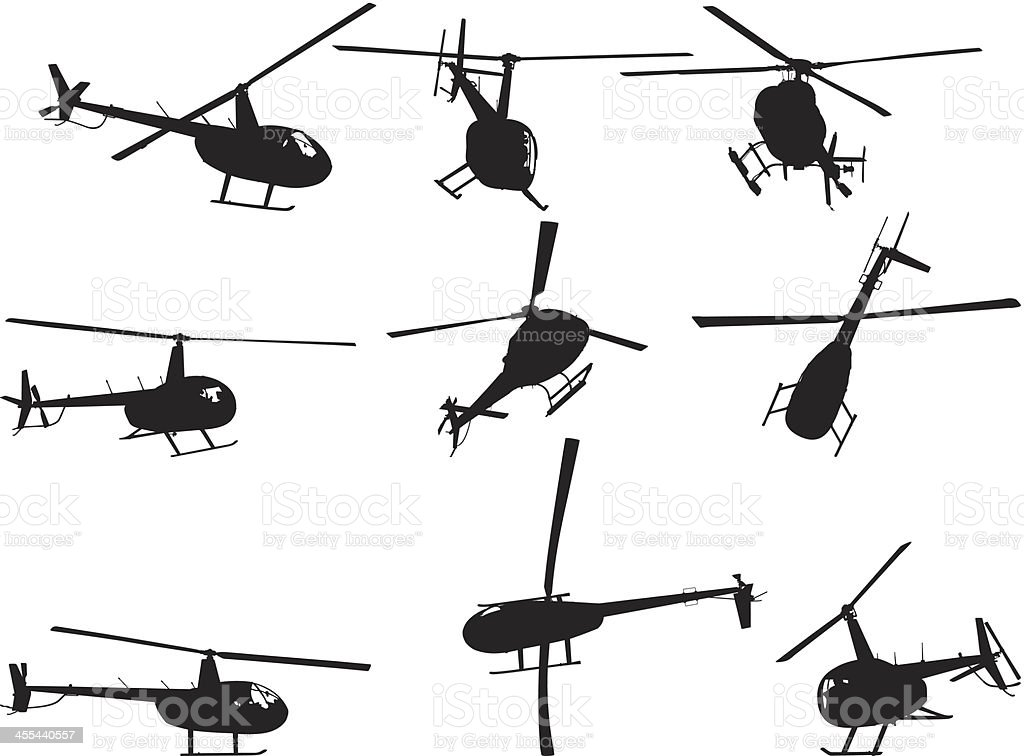 Multiple image of helicopter vector art illustration