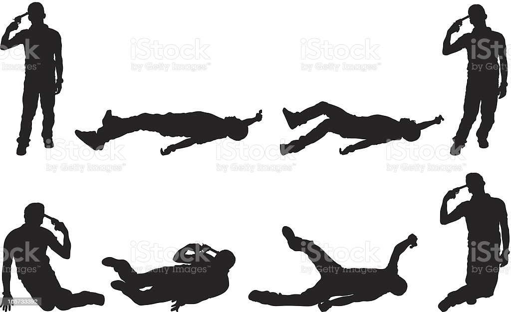 multiple image of man committing suicide by gun to head vector art illustration