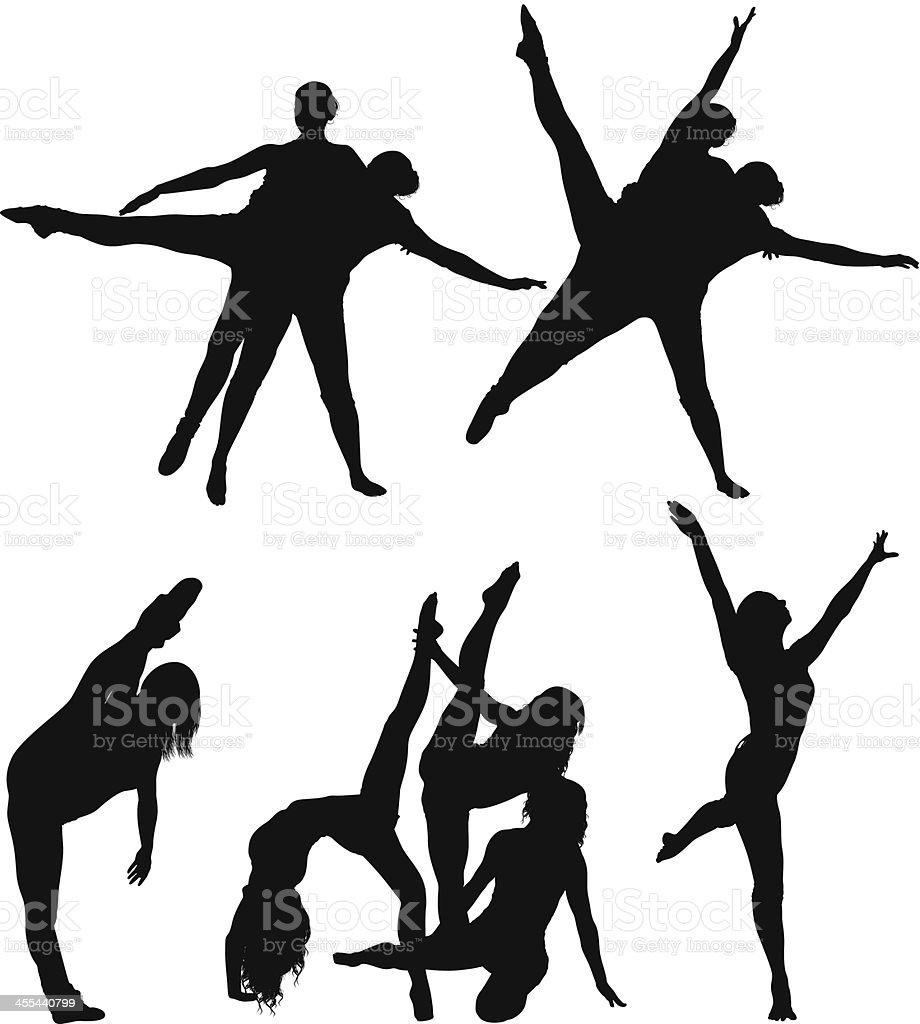 Multiple image of men and women dancing royalty-free stock vector art