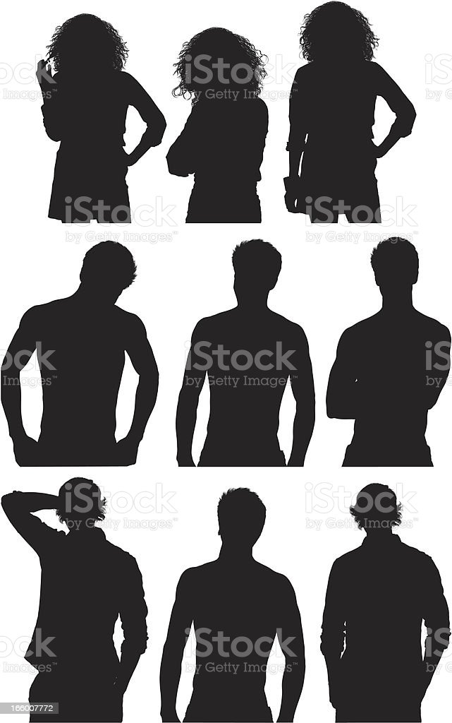 Multiple image of men and women in various pose royalty-free stock vector art