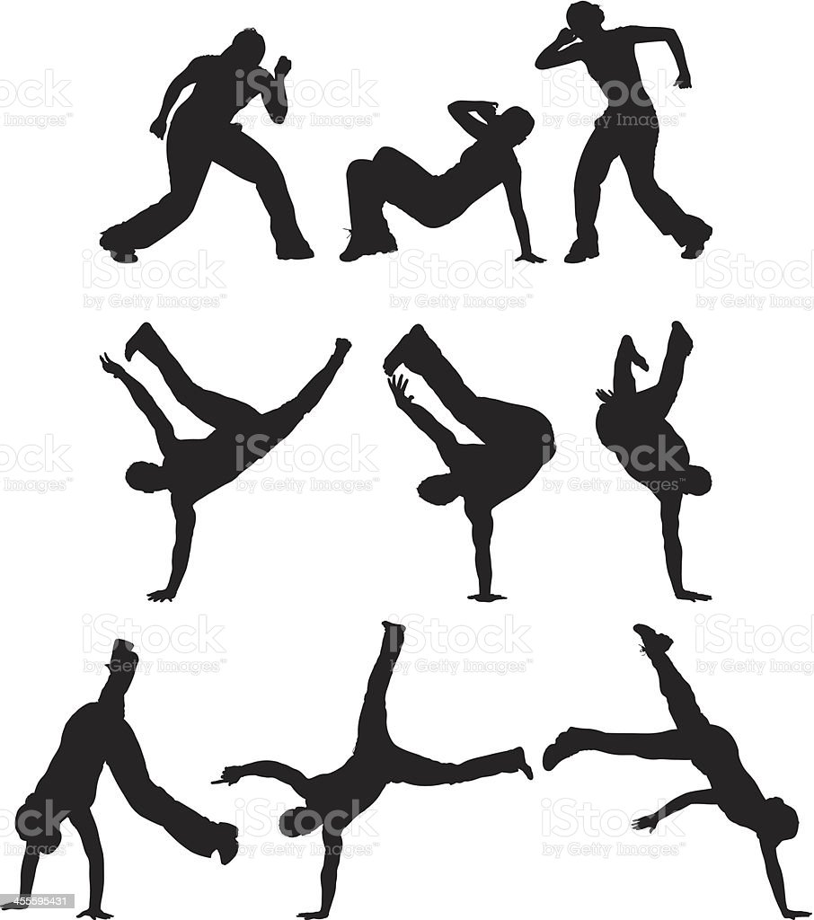 Multiple image of men and women performing breakdance royalty-free stock vector art