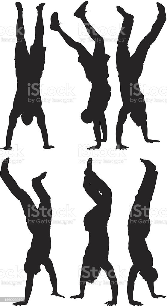 Multiple image of men performing handstand royalty-free multiple image of men performing handstand stock vector art & more images of activity