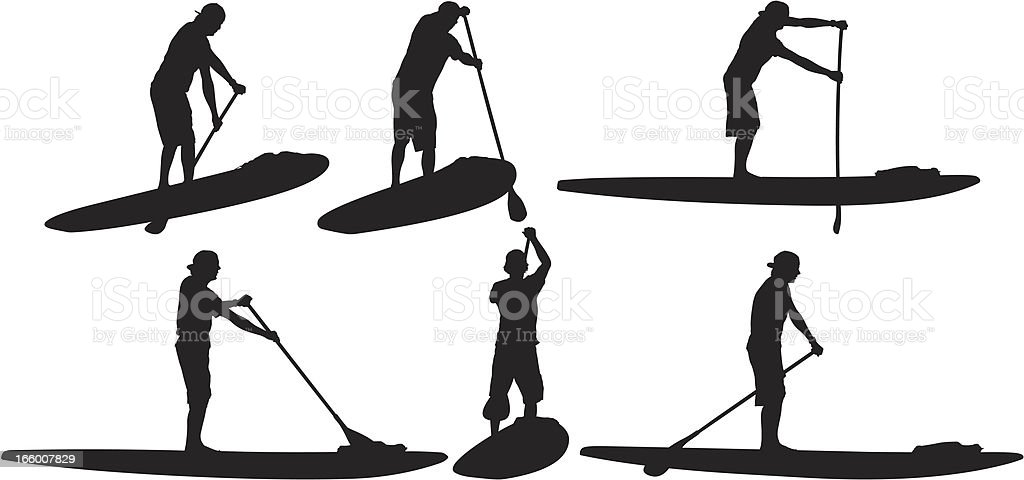 multiple image of stand up paddle surfer stock vector art more rh istockphoto com Waiting for a Surfer Wave Silhouette Clip Art Surfer Silhouette at Sunset