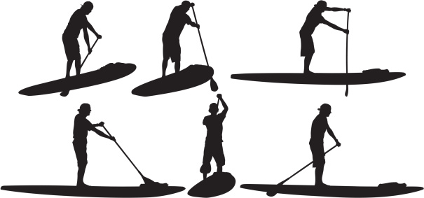 Multiple image of stand up paddle surfer