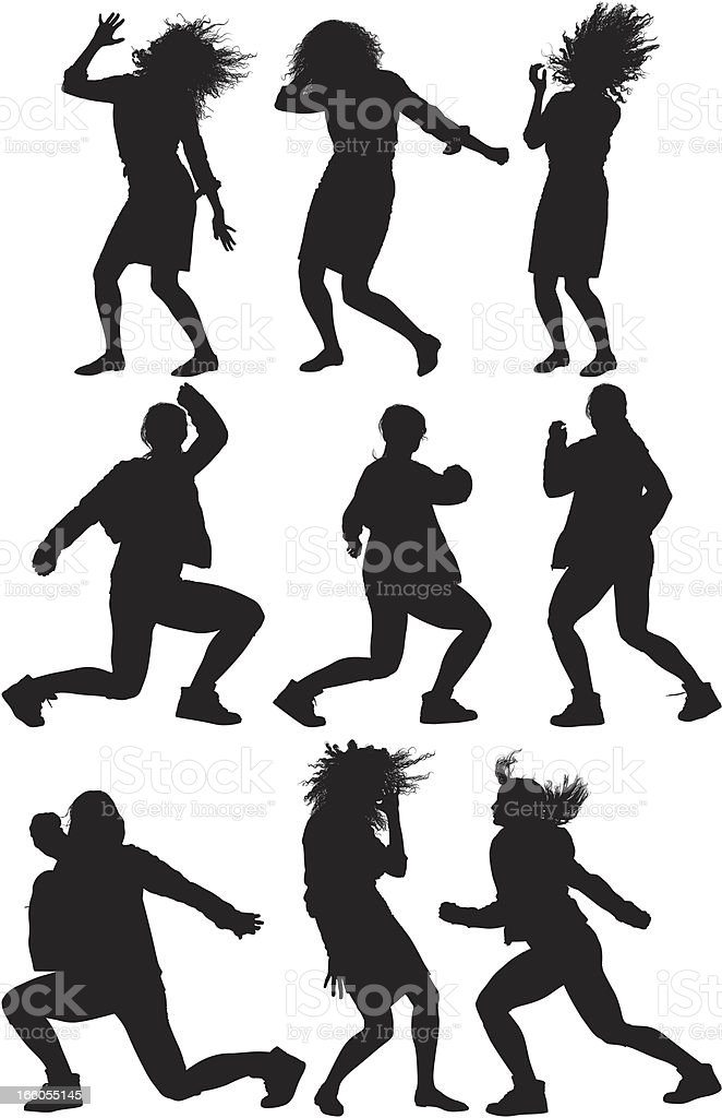 Multiple image of women dancing vector art illustration