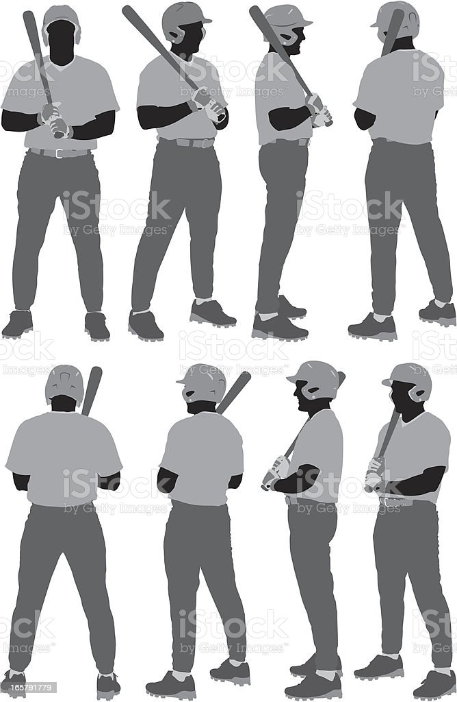 Multiple images of a baseball player vector art illustration