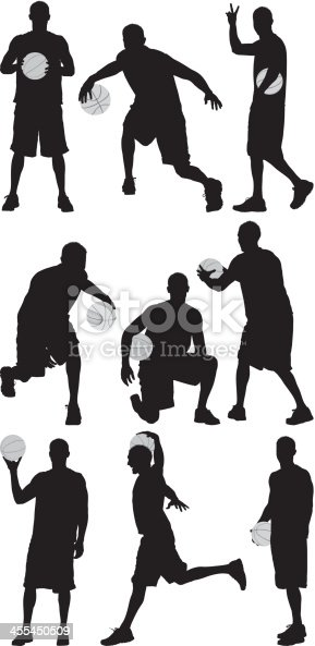 Multiple images of a basketball player