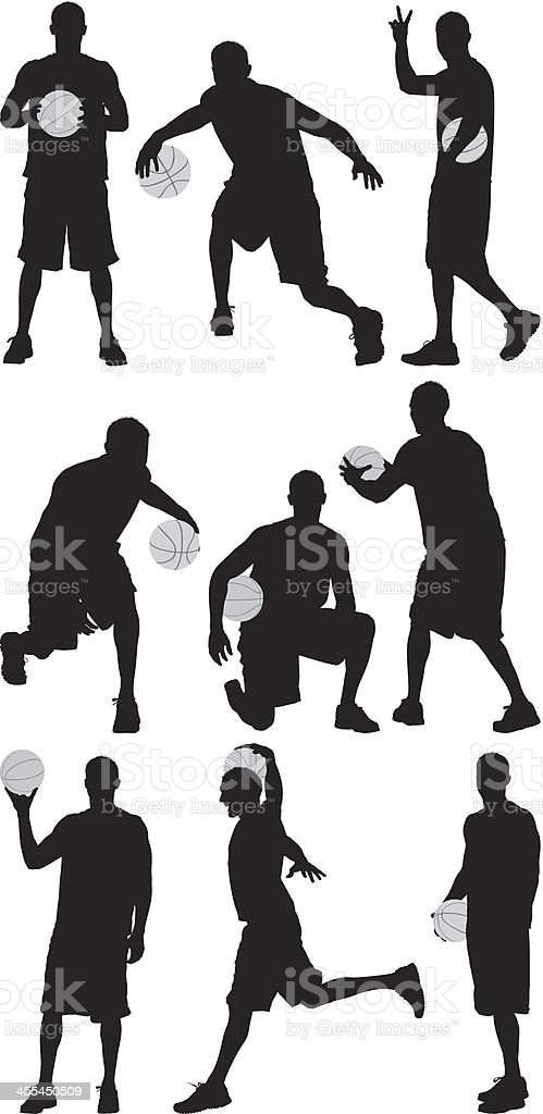 Multiple images of a basketball player vector art illustration