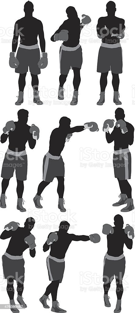 Multiple images of a boxer in action royalty-free stock vector art