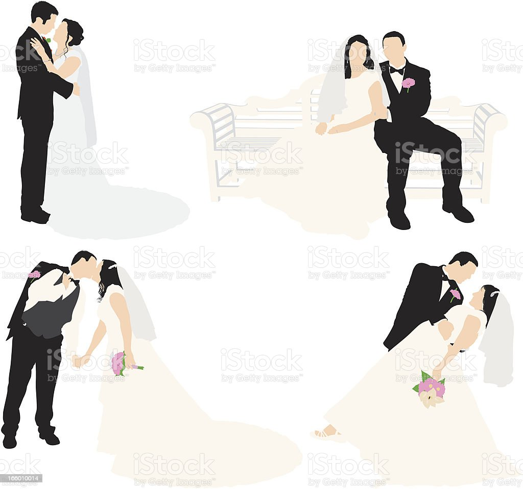 Multiple images of a bride and groom royalty-free multiple images of a bride and groom stock vector art & more images of adult