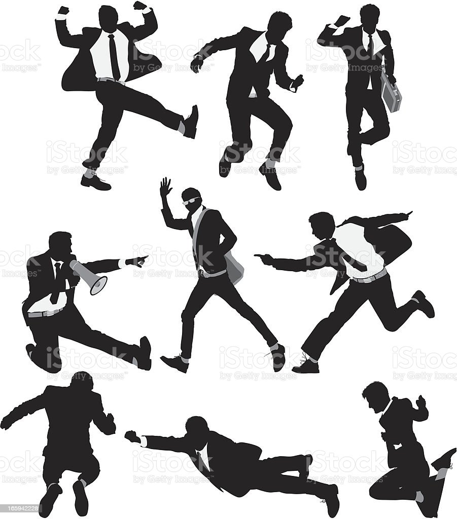 Multiple images of a businessman in different action royalty-free stock vector art