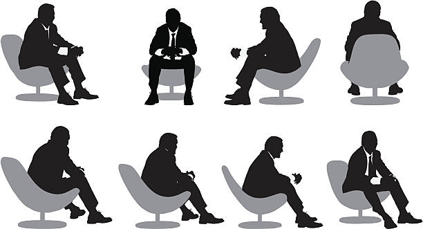stockillustraties, clipart, cartoons en iconen met multiple images of a businessman sitting on chair - overhemd en stropdas