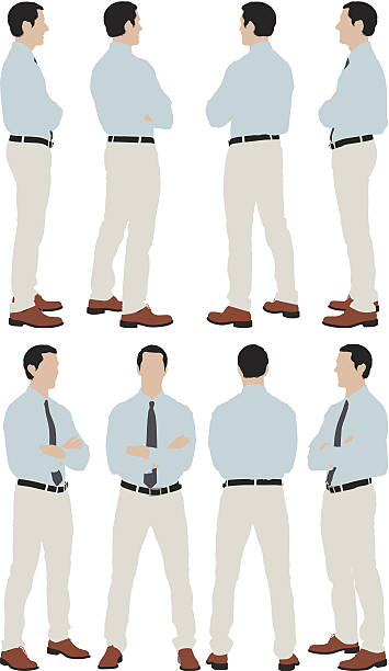 stockillustraties, clipart, cartoons en iconen met multiple images of a businessman standing - overhemd en stropdas