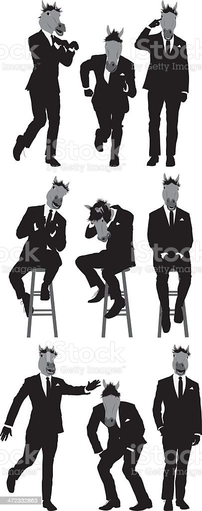 Multiple images of a businessman with horse's head royalty-free multiple images of a businessman with horses head stock vector art & more images of adult