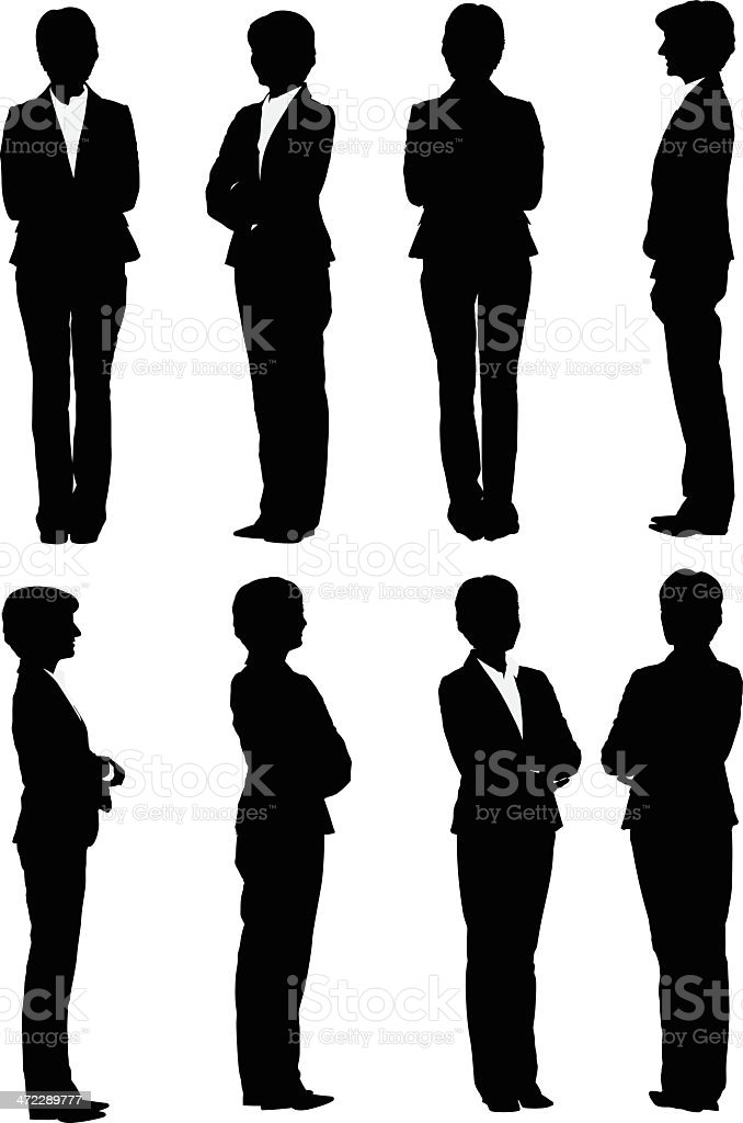 Multiple images of a businesswoman vector art illustration
