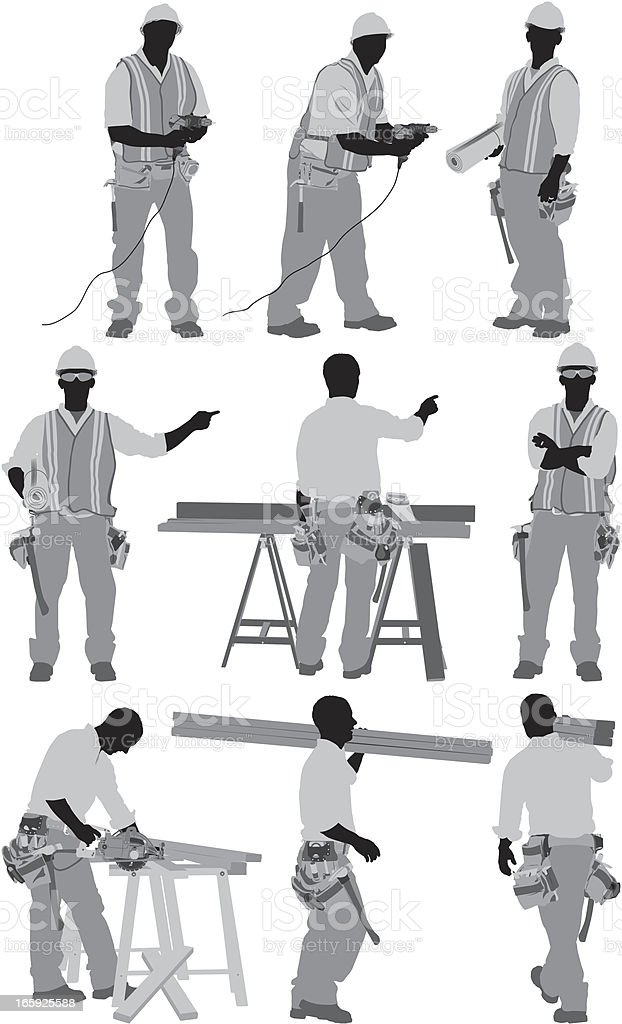 Multiple images of a carpenter in different poses royalty-free stock vector art