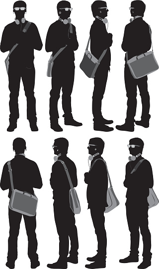 Multiple images of a casual man with shoulder bag