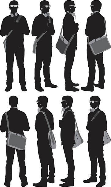 illustrazioni stock, clip art, cartoni animati e icone di tendenza di più immagini di un uomo casual con una borsa a tracolla - ritratto 360 gradi