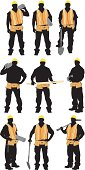 Multiple images of a construction worker