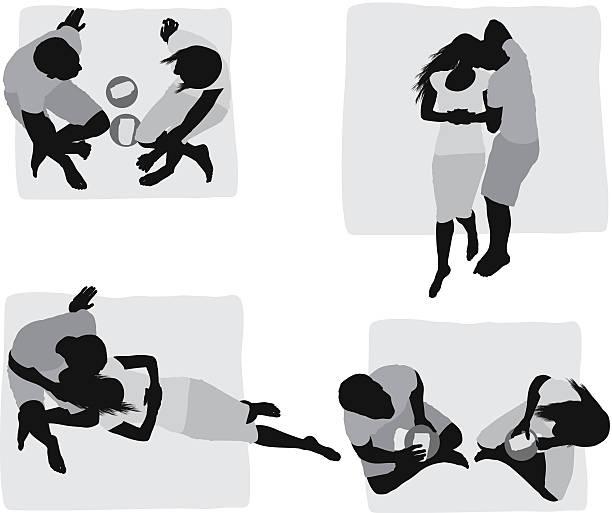 bildbanksillustrationer, clip art samt tecknat material och ikoner med multiple images of a couple at picnic - korslagda ben