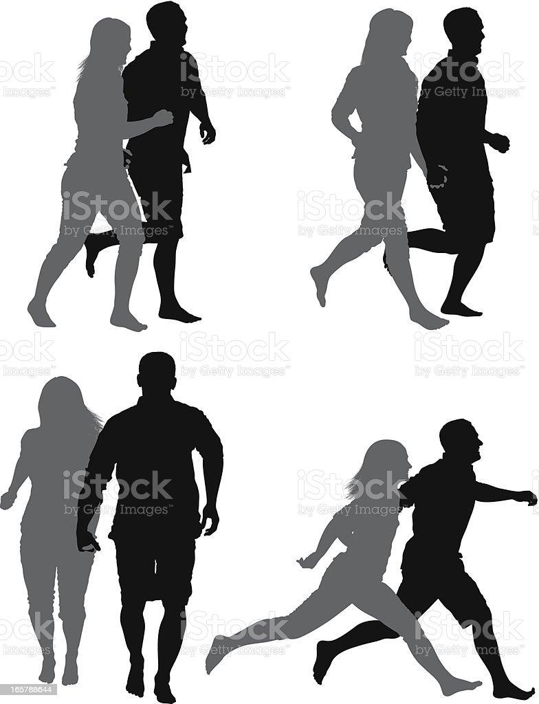 複数のイメージのカップルジョギング - イラストレーションのベクター