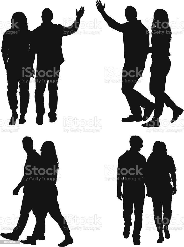 Multiple images of a couple walking vector art illustration