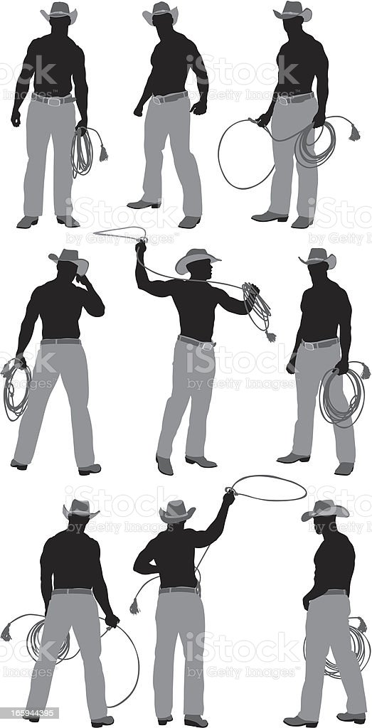 Multiple images of a cowboy with lasso royalty-free stock vector art
