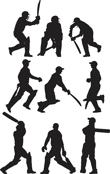mehrere bilder eines cricket player - cricket stock-grafiken, -clipart, -cartoons und -symbole