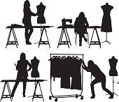 Multiple images of  a fashion designer at studiohttp://www.twodozendesign.info/i/1.png