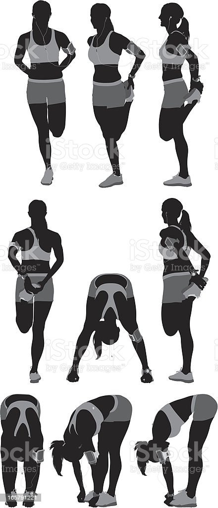 Multiple images of a female athlete exercising vector art illustration