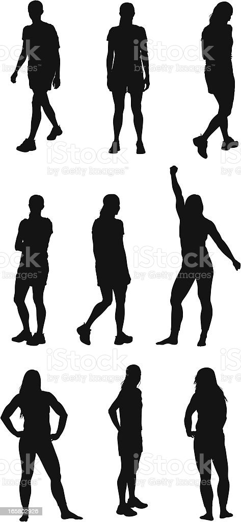 Multiple images of a female athlete vector art illustration