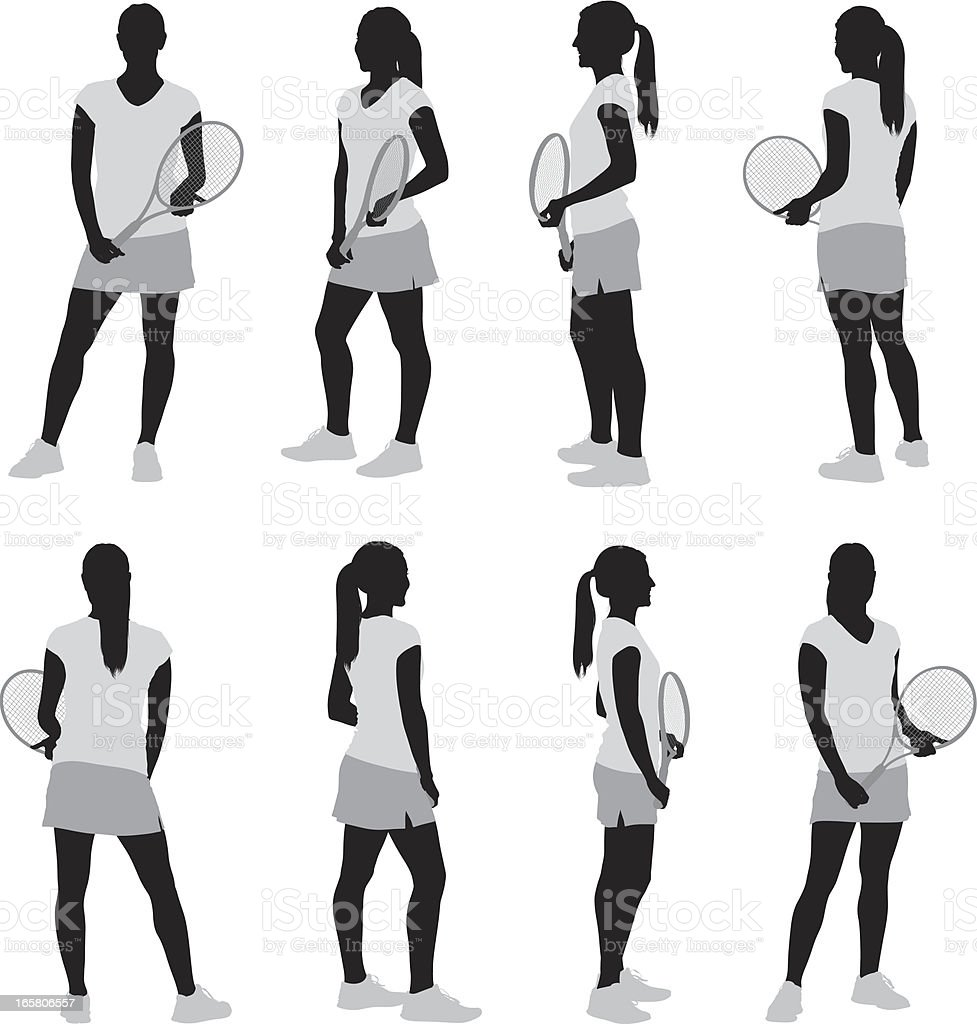 Multiple images of a female tennis player royalty-free stock vector art