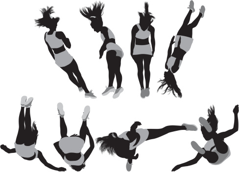 Multiple images of a gymnast in action