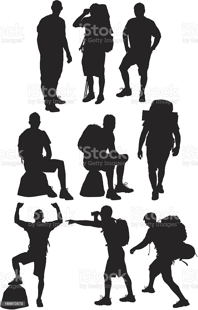 Multiple images of a hiker in action royalty-free stock vector art