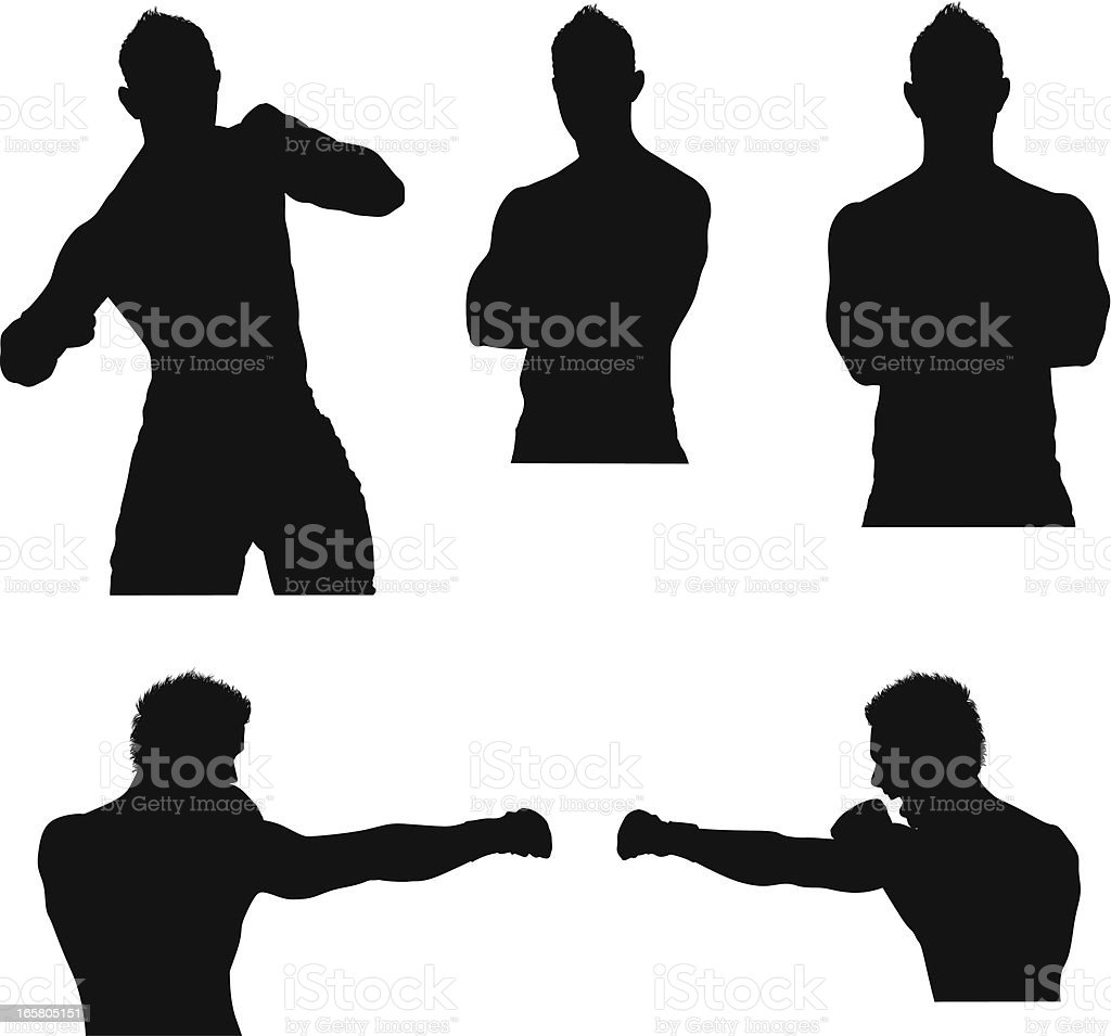 Multiple images of a male boxer in action royalty-free stock vector art