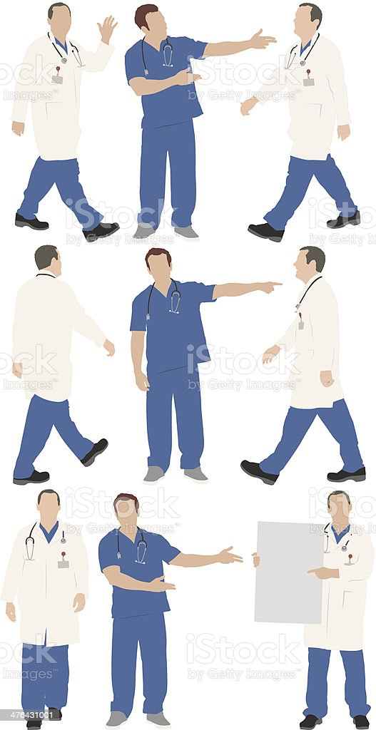 Multiple images of a male doctor in different poses royalty-free stock vector art