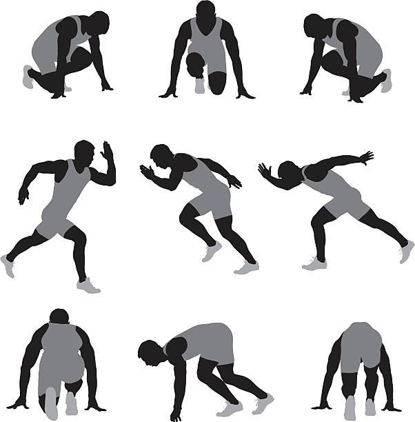 複数のイメージの雄ランナー - 陸上競技点のイラスト素材/クリップアート素材/マンガ素材/アイコン素材