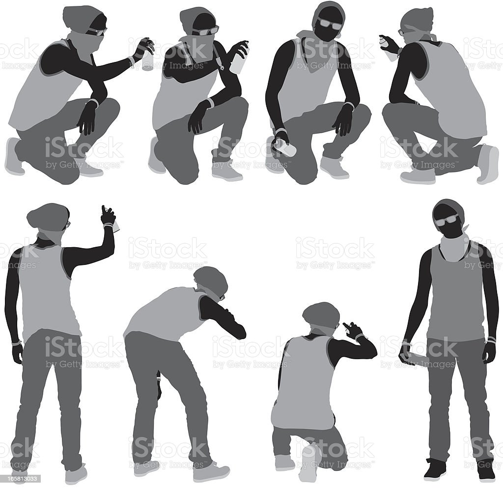 Multiple images of a man doing graffiti vector art illustration