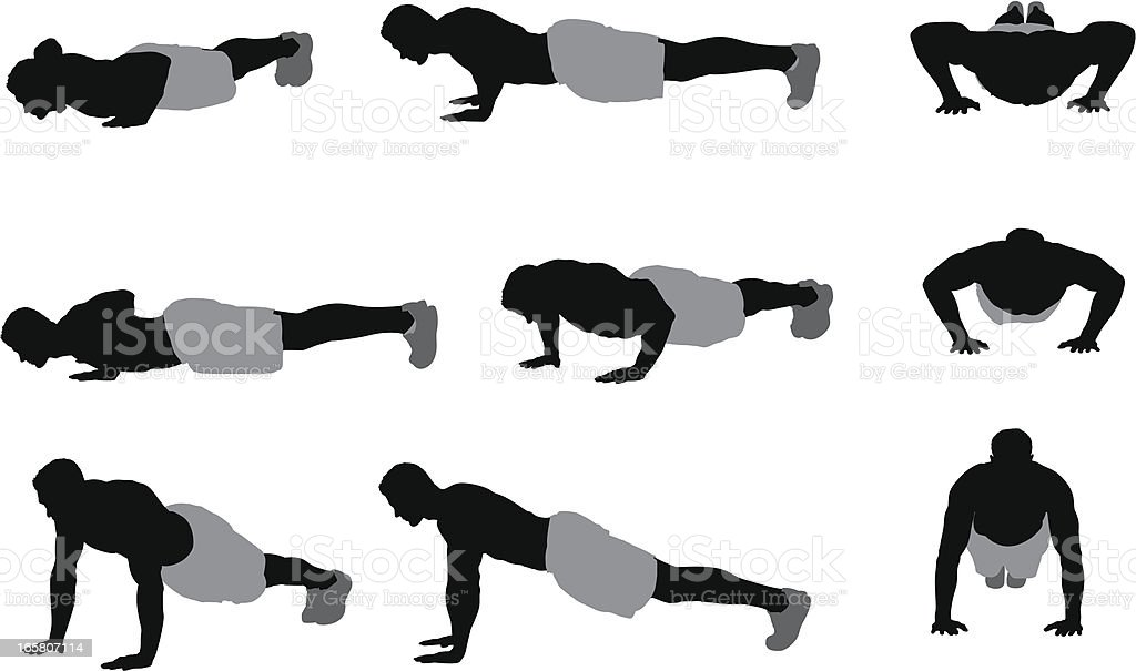 Multiple images of a man doing push-ups royalty-free stock vector art