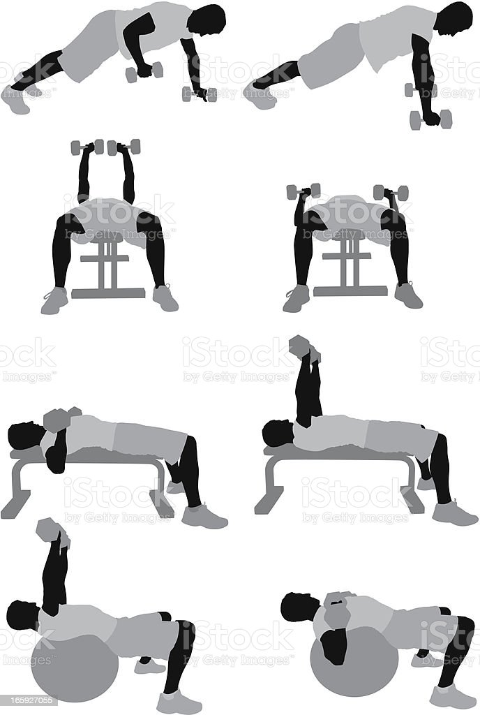 Multiple images of a man exercising royalty-free multiple images of a man exercising stock vector art & more images of adult