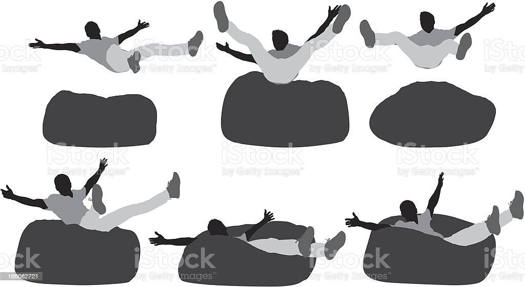 Multiple images of a man falling on bean bag vector art illustration